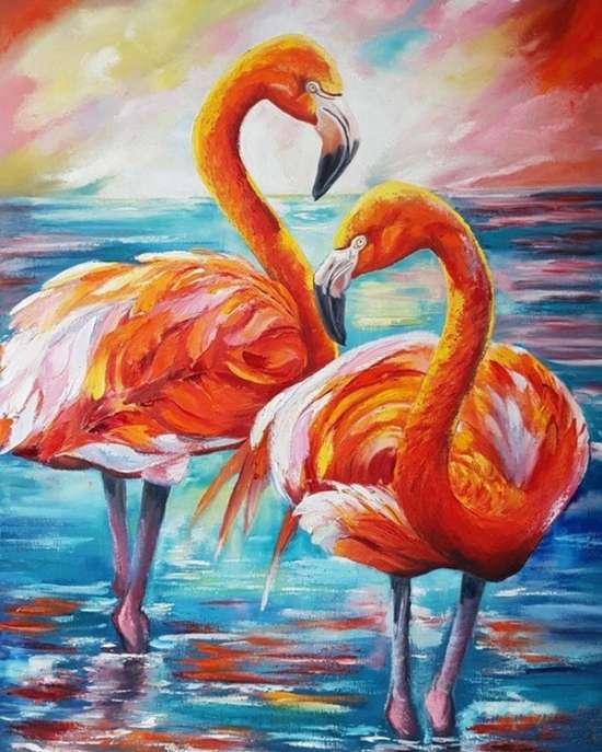 Картина по номерам 40x50 Пара фламинго на фоне моря