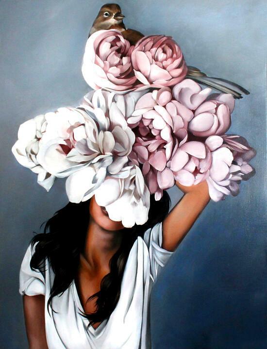 Картина по номерам 40x50 Девушка с большими цветами и птицей